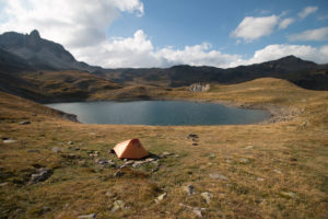 My tent pitched somewhere in the French Alps