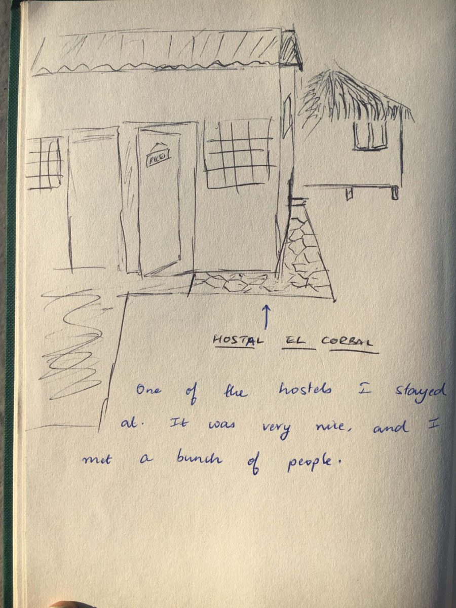 Very bad drawing of the hostel