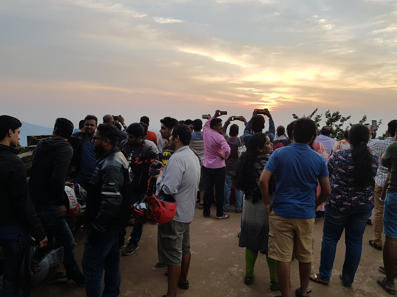 People at Sunset Point in Agumbe