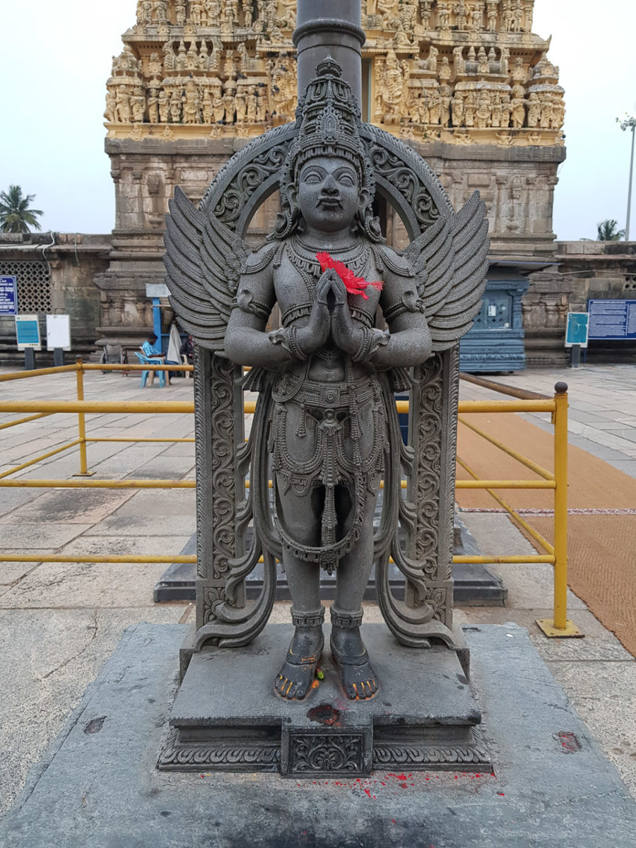 The statue at the entrance of the temple