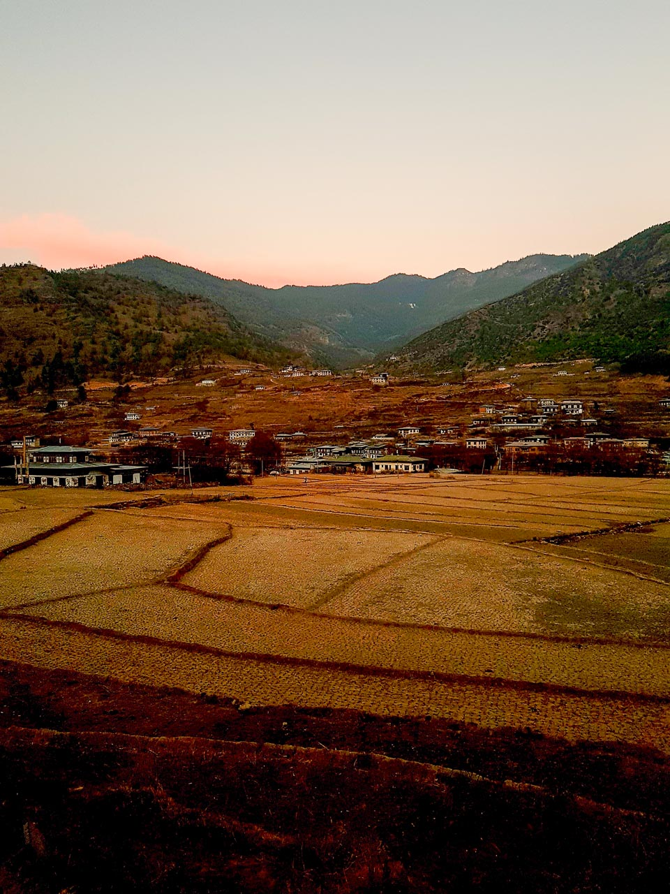 Returning to Paro at sunset