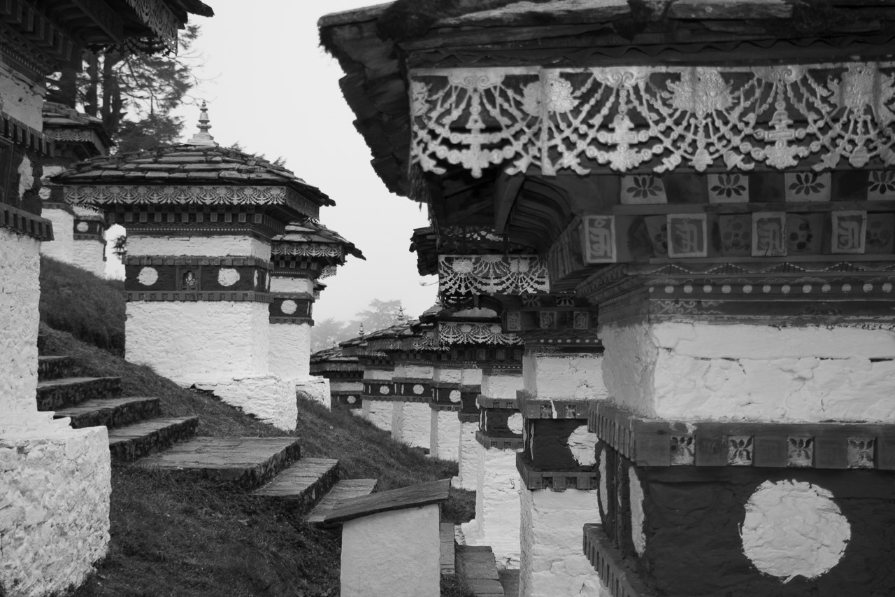 The 108 chortens at Dorchu La in Bhutan
